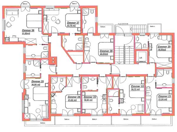 Doppelzimmer und einzelzimmer f r ihre busreise hotel for Hotel badezimmer grundriss